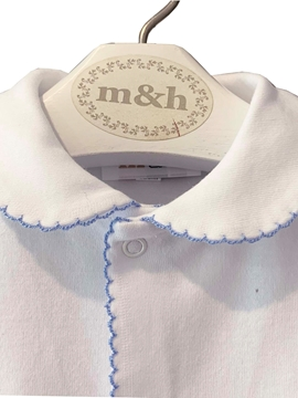 qhite m&h sleep suit blue stitch