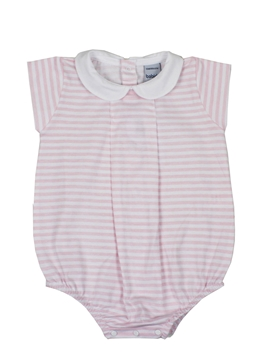 short sleep suit pink stripes