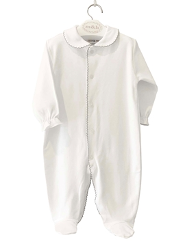 Long blue sleepsuit with grey ribbons