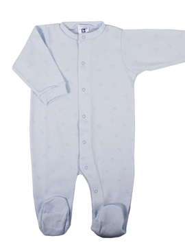 Long blue sleepsuit with hearts
