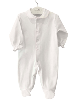 Long white sleepsuit with pink pattern