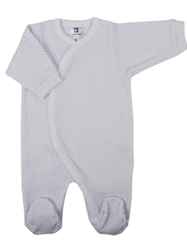 Long sleepsuit white with blue dots