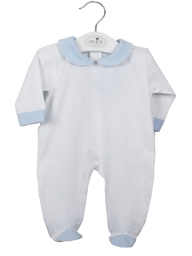 Long white sleepsuit with blue polka dots