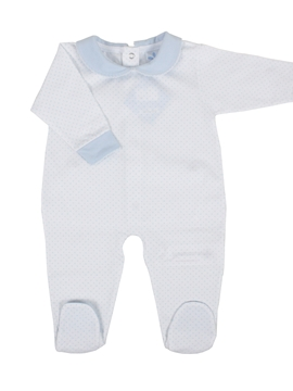 Long white sleepsuit with dots blue