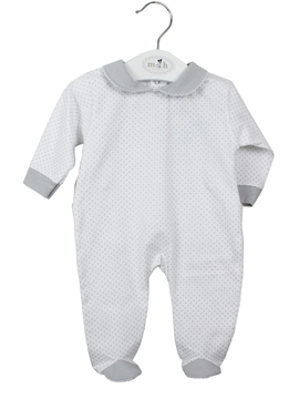 Long white sleepsuit with grey polka dots