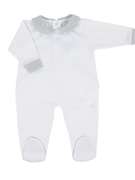 Long white sleepsuit with dots grey