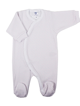 Baby long sleepsuit white and pink dots