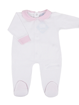Long white sleepsuit with dots pink