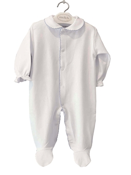 Baby long sleepsuit white and blue stitch