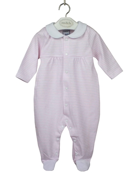 Sleep suit white and pink stripes