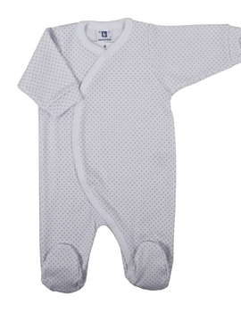 Long sleepsuit white with grey dots
