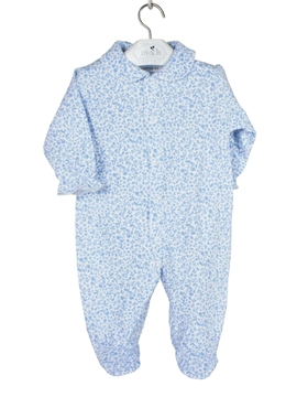 Long sleepsuit white with blue pattern