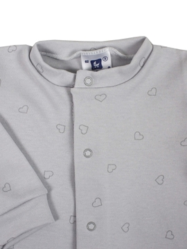 grey sleep suit with hearts
