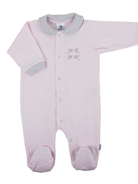 Long pink sleepsuit with grey ribbons