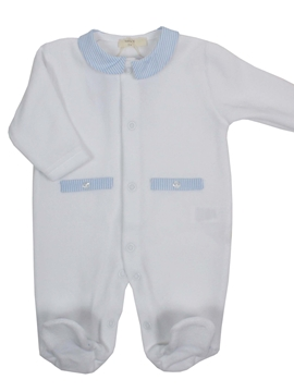 White velvet sleepsuit baby collar blue striped
