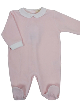 Pink velvet sleepsuit with polka dots