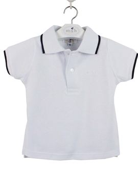 Polo shirt white and navy blue