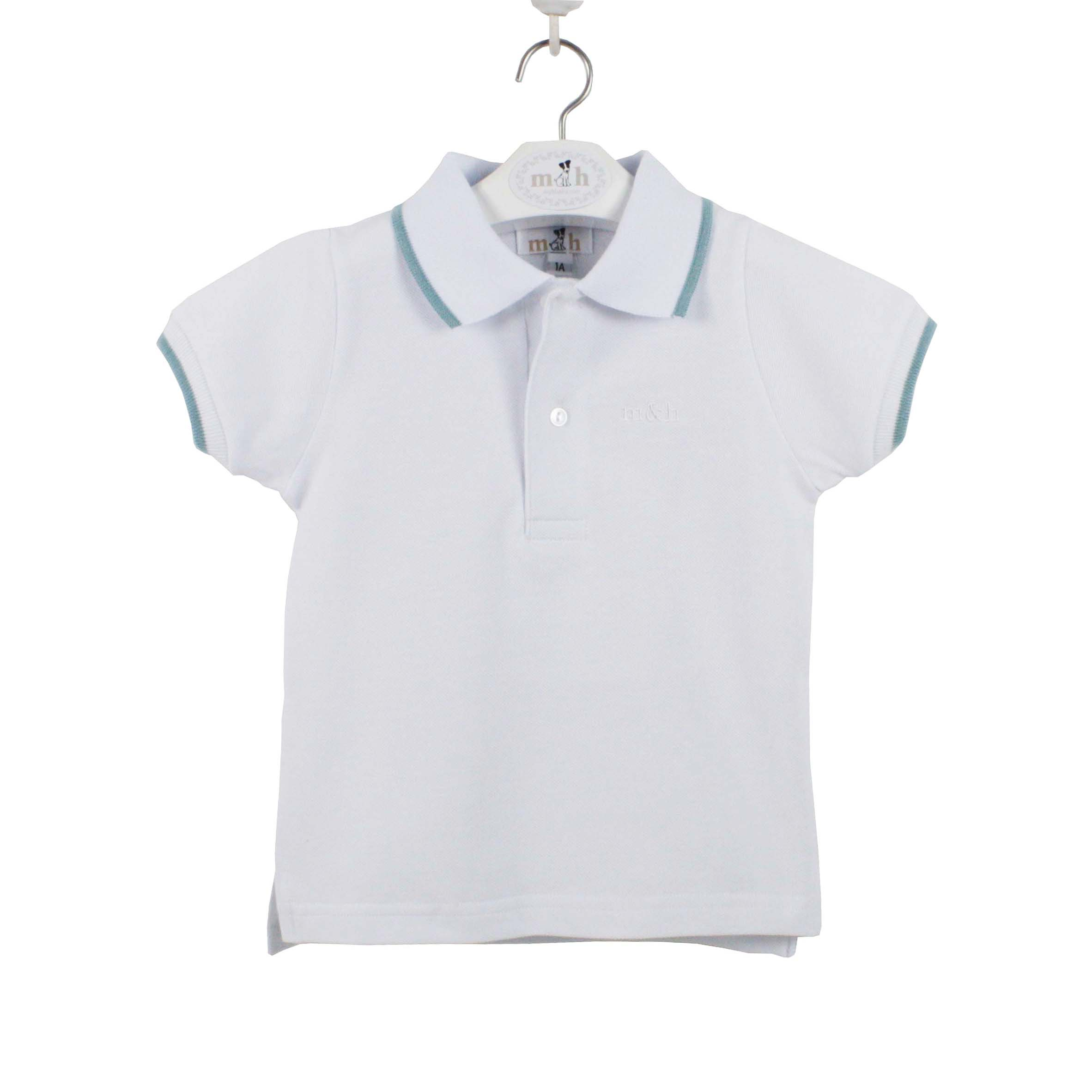 White And Green Polo Shirt With Short Sleeve