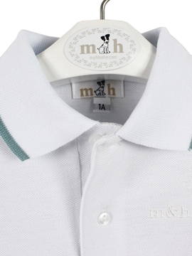 Polo shirt white and green