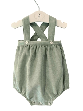 Romper with braces green corduroy