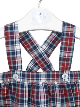 red and blue tartan romper