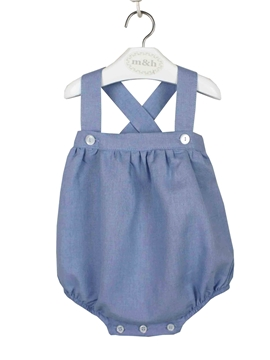 medium blue linen cotton romper