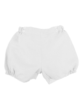 White buttons linen short