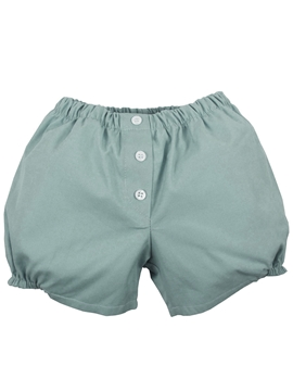 Aquarelle green buttons linen short