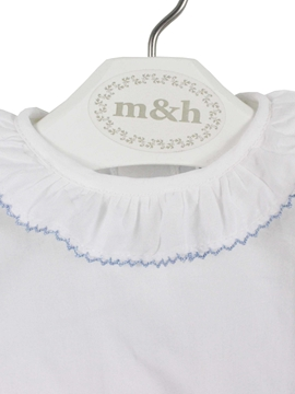 Back m&h baby short sleeve blouse batiste fabric. Blue stitch
