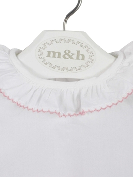 Backm&h baby blouse short sleeve batiste fabric. Pastel pink stitch