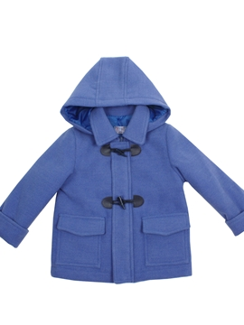 Medium blue duffle coat with hood