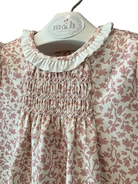 Beatriz dress pink leaves pattern