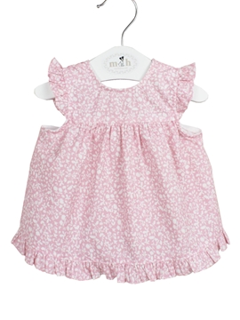 Clara dress. Pink with white leaves