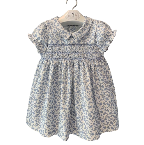 diana dress blue leaves pattern