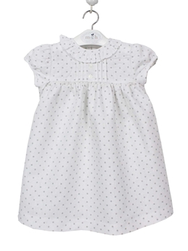 Gabriela dress blue polka dots linen