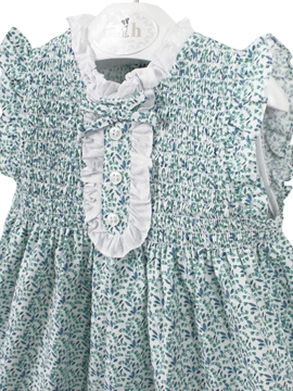 Irene dress green and blue flowers
