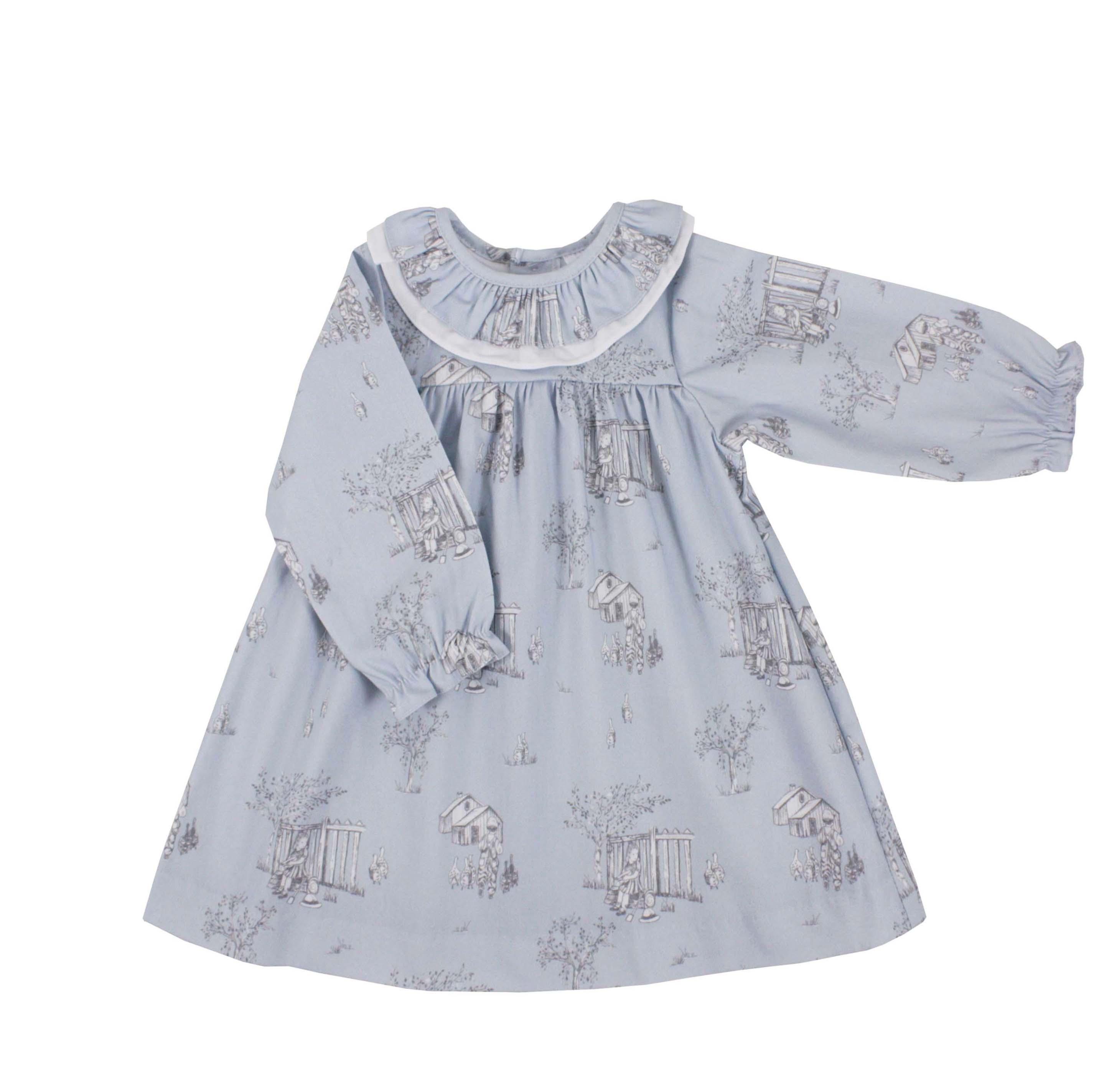 91835dcc4 Vestido niña manga larga estampado toile azul. Modelo Rebeca