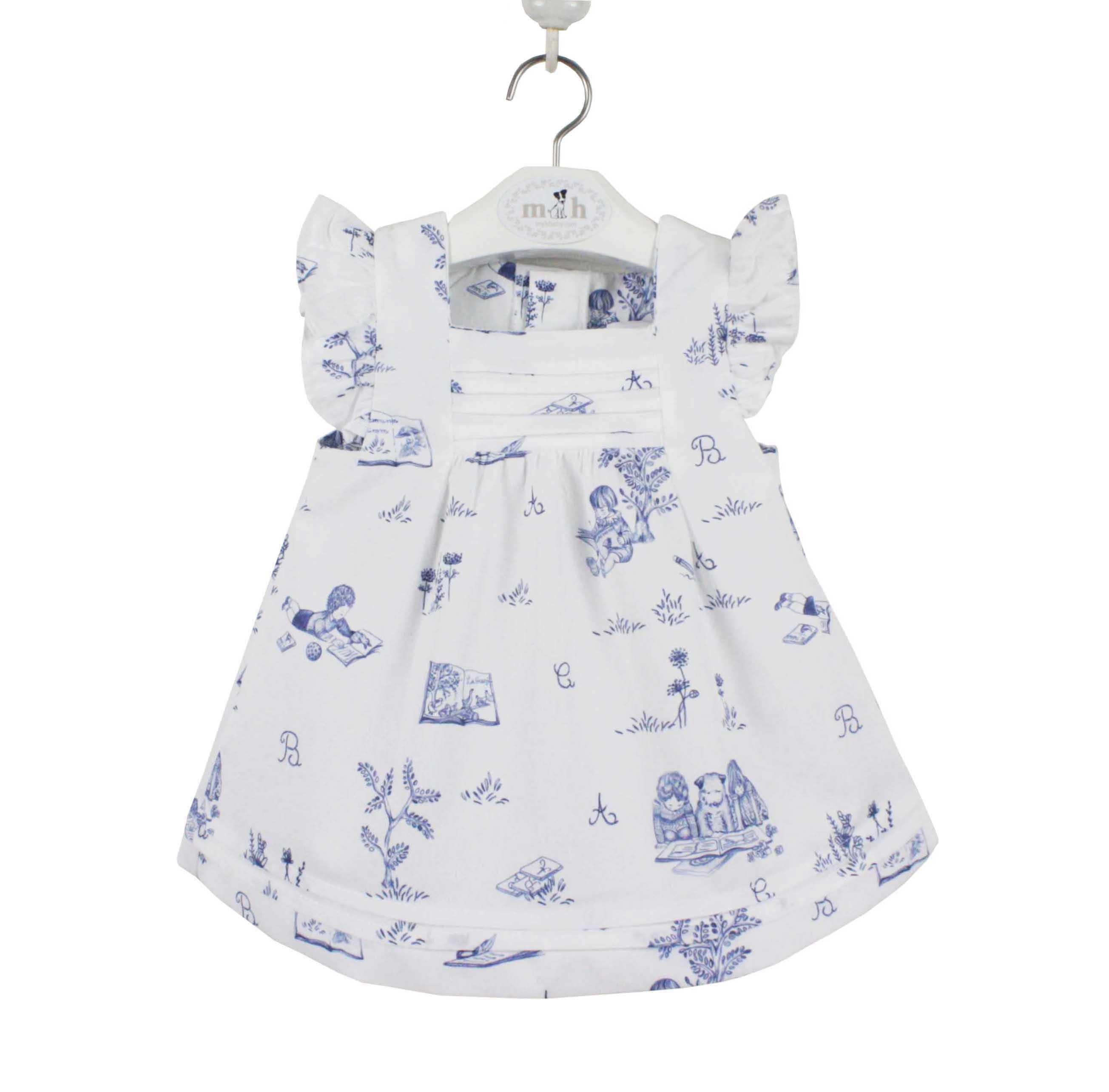 460619e1a427 Blue Toile short dress. Mafalda Model