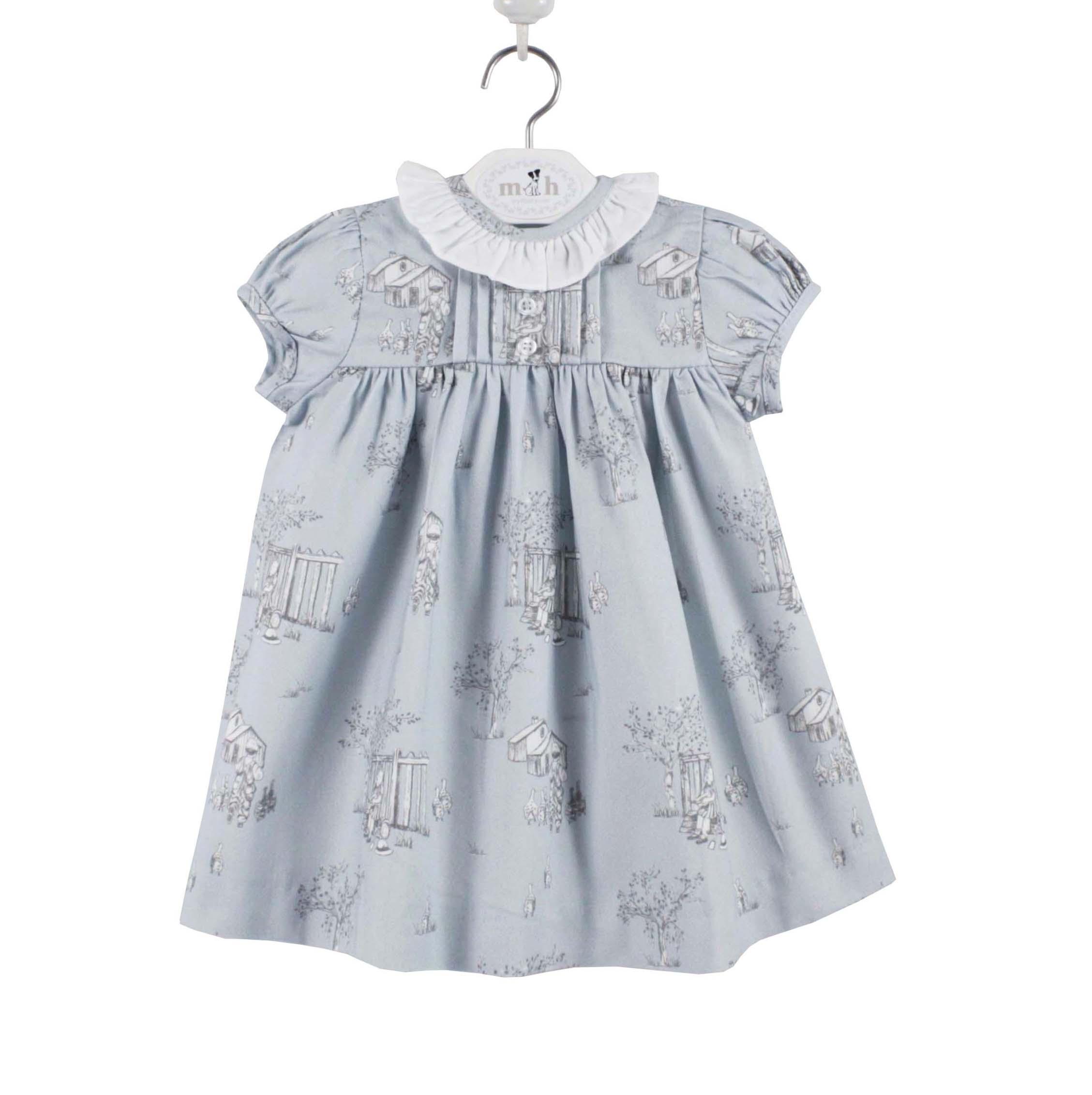 b7399676559e Toddler girl dress blue toile pattern short sleeve. Gabriela model