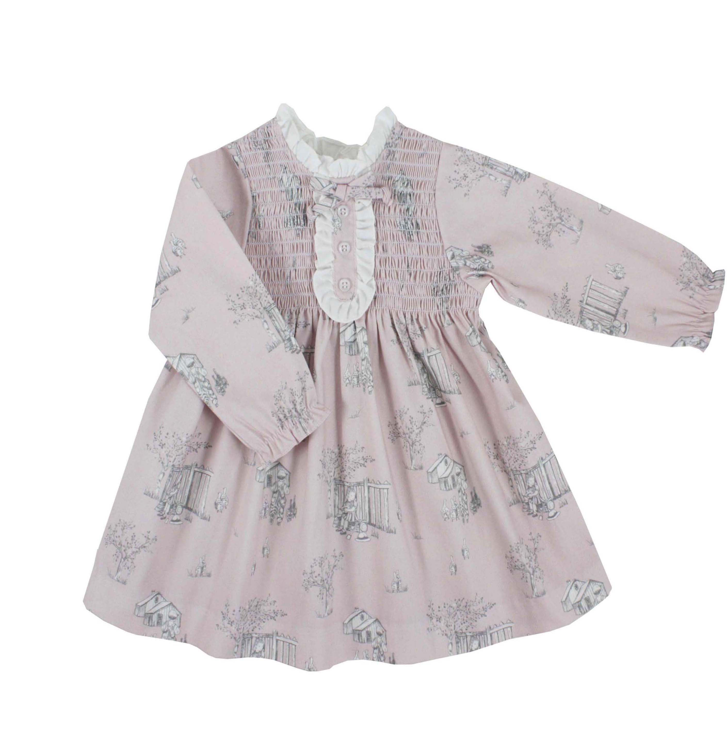 d92886669a17 Toddler girl dress long sleeve pink toile pattern. Irene model