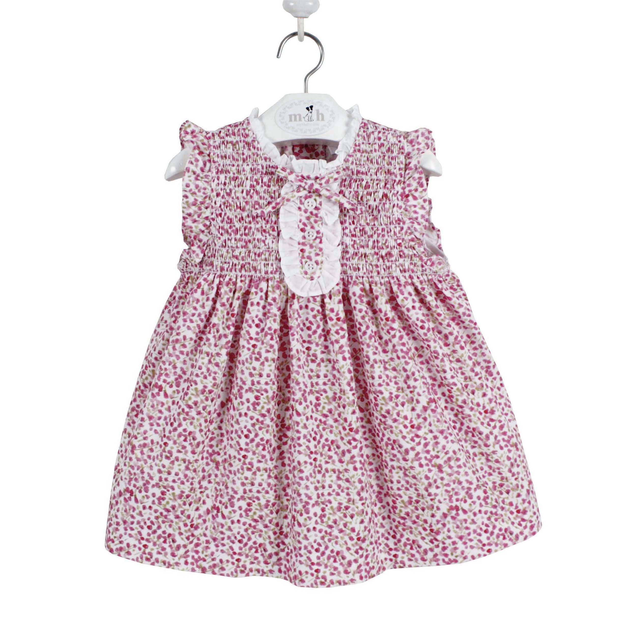 ea64541d0b63 Sleeveless girl dress pink and green branches pattern. Irene model