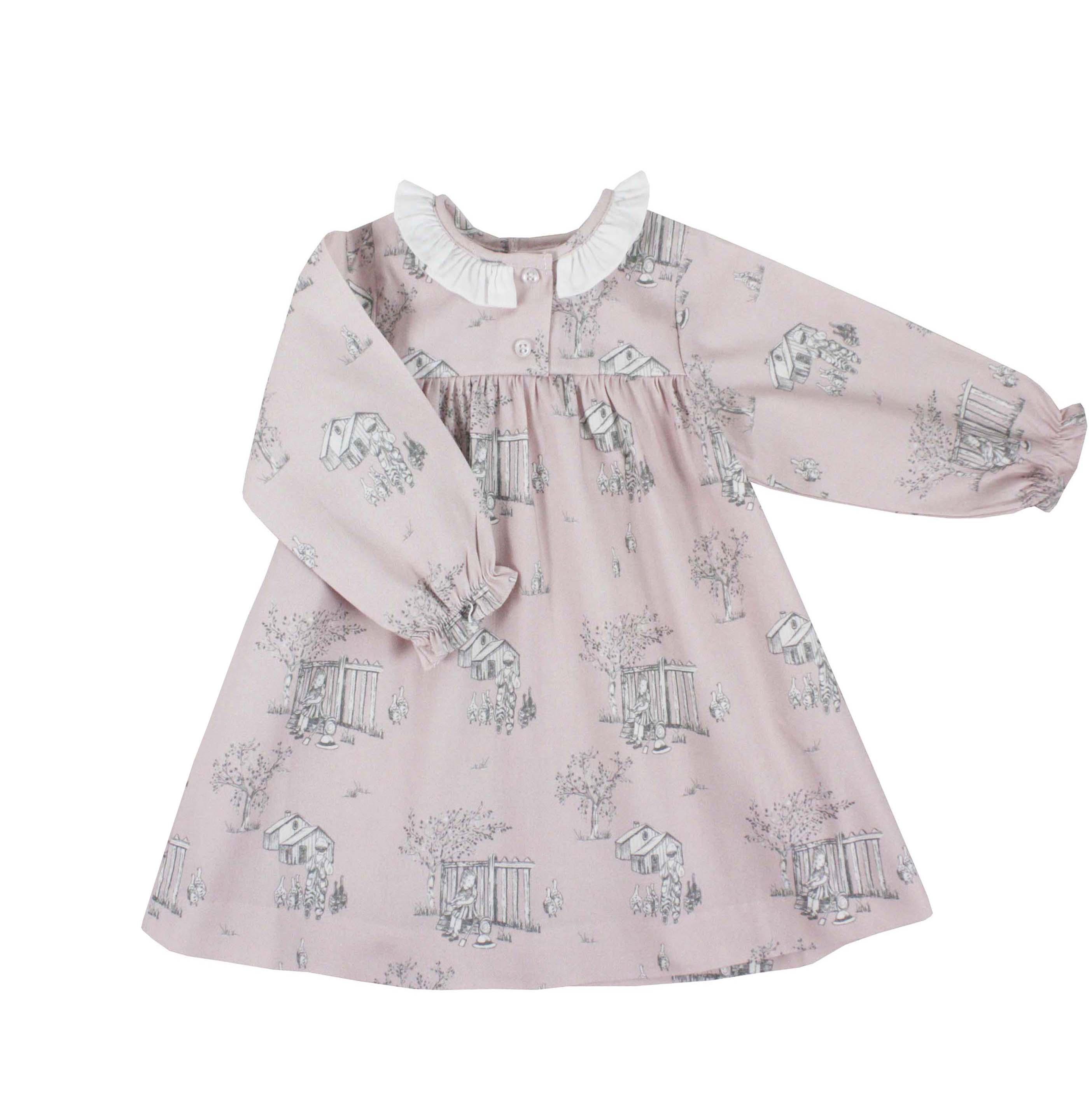 Toddler Girl Dress Pink Toile Long Sleeve Valeria Dress