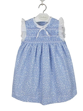 paloma dress blue and white leaves