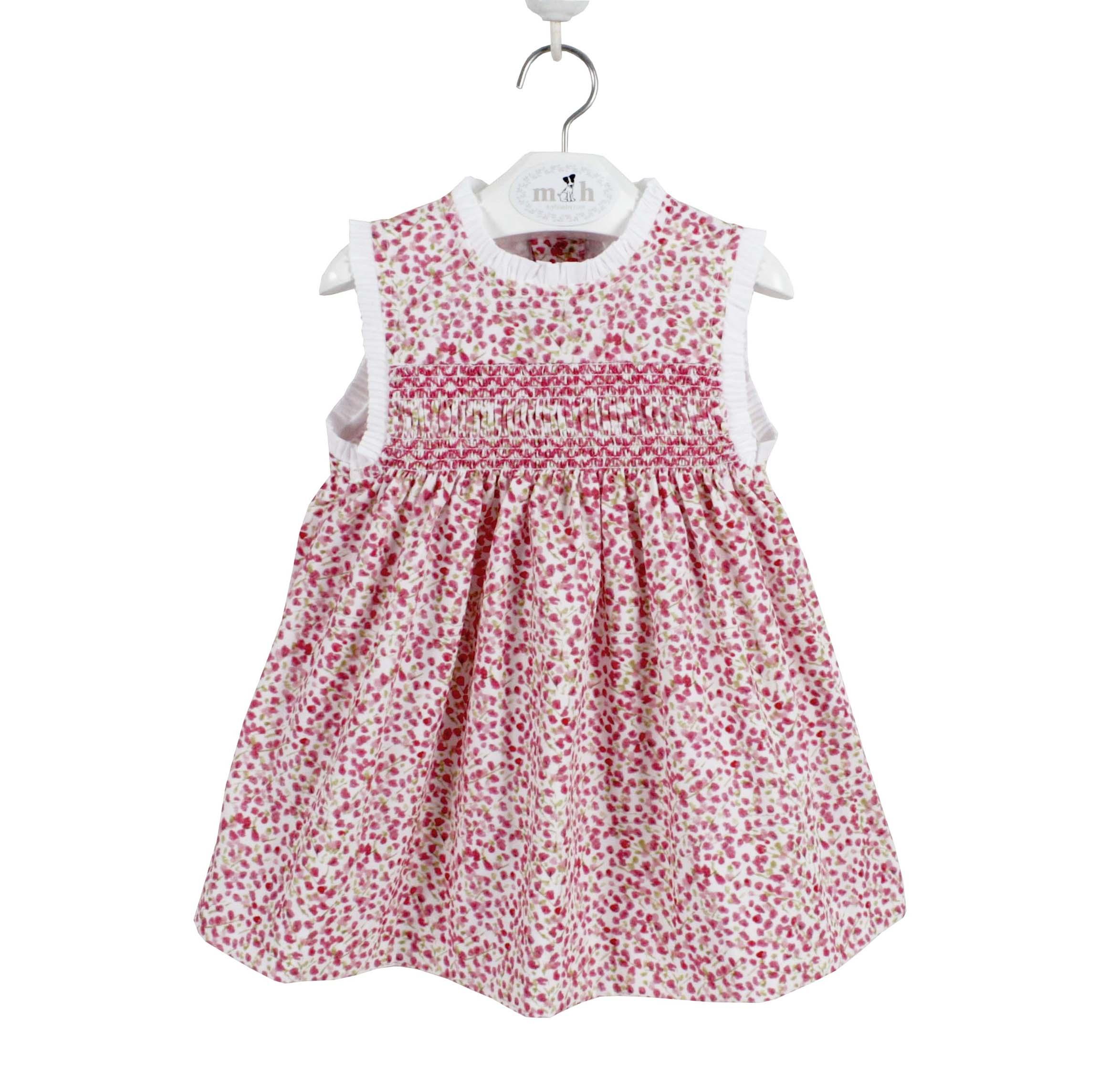 Vestido niña con smock estampado ramas rosa y verde. Modelo Marta
