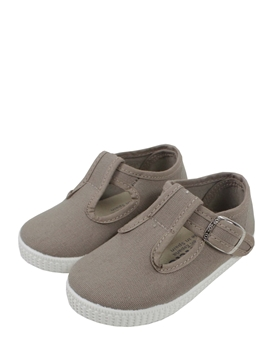 Canvas T-strap shoes in beige
