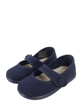 Navy blue canvas mary jane shoes with button