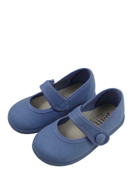 Blue canvas mary jane toddler shoes with button