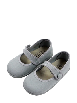 Grey canvas mary jane toddler shoes with button