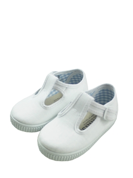 Canvas T-strap shoes in white
