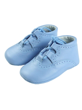 Blue soft leather baby shoes Gales model